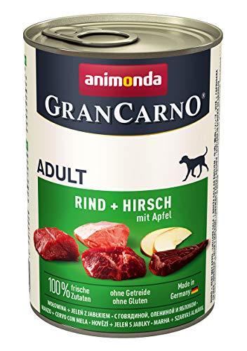 animonda Gran Carno adult Hundefutter, Nassfutter für erwachsene Hunde, Rind + Hirsch mit Apfel, 6 x 400 g