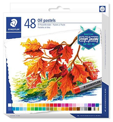 STAEDTLER 2420 C48 Ölpastellkreiden (wasserfest, haftet auf nahezu allen glatten Flächen, Kreidendurchmesser ca. 11 mm) Kartonetui mit 48 brillanten Farben