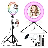 Ring Light with Stand,Uhans Selfie Ring Light with 10 Inch RGB LED,Ring Light for Makeup Photography Video Shooting TIK Tok Lights Compatible with Almost Smartphone