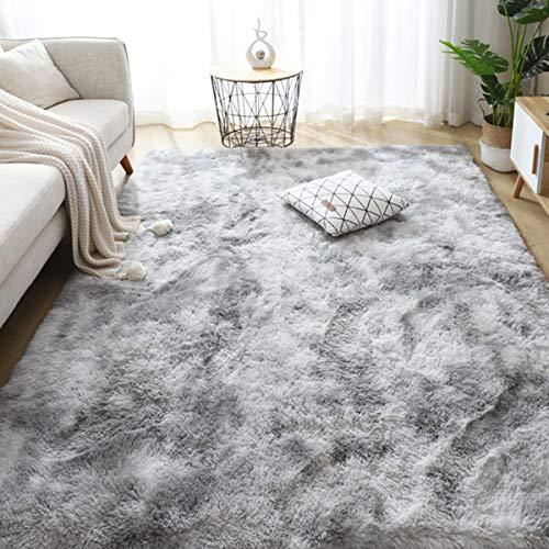 Leesentec Teppich Wohnzimmer Teppiche Schlafzimmer Modern Hochflor Antirutschmatte Teppich Weiche Fußmatten Groß für Flur Teppich Anti Rutsch Unterlage (Grau/Weiß, 160 x 200 cm)