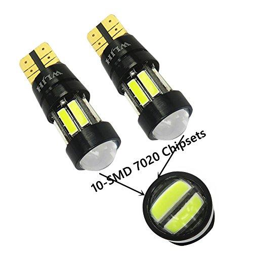 T10 ampoule, WLJH 2pcs extrêmement lumineux blanc 168 W5W E10SMD Chipsets LED Canbus ampoules sans erreur pour la carte dôme intérieur stationnement plaque d'immatriculation de frein léger