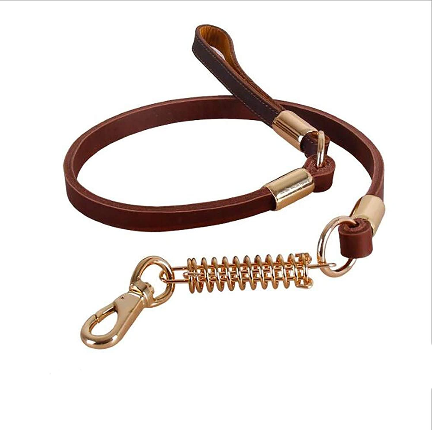 GAOJIN6868 Leather Dog Leash,Soft and Super Strong Belt Leather Dog Training Leash Lead Cushioned Leather Handle Explosionproof Spring Suitable for Large and Medium Dogs Walking 122cm