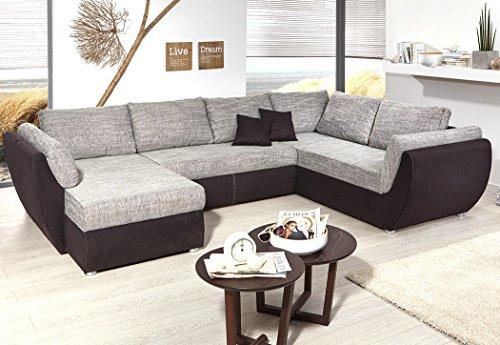 expendio Wohnlandschaft Ontario 326x231 cm Mikrofaser grau schwarz Sofa U Form Funktionssofa Schlafsofa Couch Ottomane