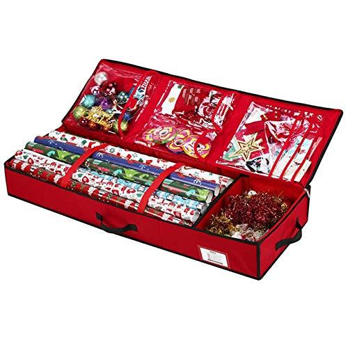 Alecony Geschenkpapier Organizer Aufbewahrung mit Innentaschen, Aufbewahrungstasche Aufbewahrungsbox für Weihnachten Geschenkpapierrollen Geschenkverpackung Geschenkanhänger Etiketten Schleifen