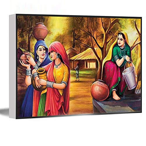 HOUSE DECORATIONS LIVING ROOM,canvas wall art for living room,funny wall art,Rajasthani Village Girl Painting,16'x24' Framed Modern Canvas Wall Art,