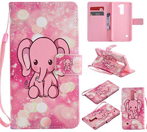 Nancen Compatible with LG G Stylo 2 / LG Stylus 2 / LG Stylus 2 Plus LS775 K520 (5,7 Zoll) Hülle/Handyhülle, Zwei Kartenfächer & Eine Brieftasche Etui [Rosa Baby-Elefanten]
