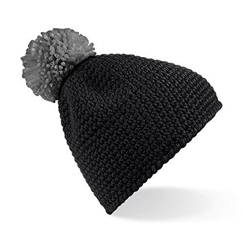 Beechfield Slopeside - Bonnet à pompon - Adulte unisexe (Taille unique) (Noir/Gris)