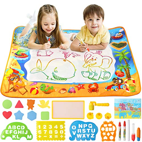 Kimuvin Doodle Mat, 40 x 28 Inches Water Drawing Mat As Educational Toys for Children 3-8 Years Old