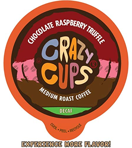 Crazy Cups Flavored Single-Serve Coffee for Keurig K-Cups Machines, Decaf Chocolate Raspberry Truffle, 22 Pods per Box