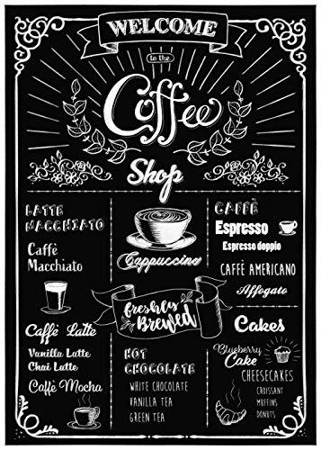 Deco-sticker van Komar | COFFEESHOP | Formaat: 50 x 70 cm (breedte x hoogte) | Muurtattoo, wand, decoratie, stickers, koffie, tafel - 17058h