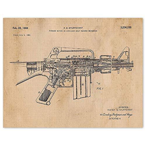 Vintage AR15 Rifle Patent Prints, 1 (11x14) Unframed Photos, Wall Art Decor Gifts Under 15 for Home, Office, Man Cave, Garage, College Student, Teacher, Cowboys, NRA Handgun Fan