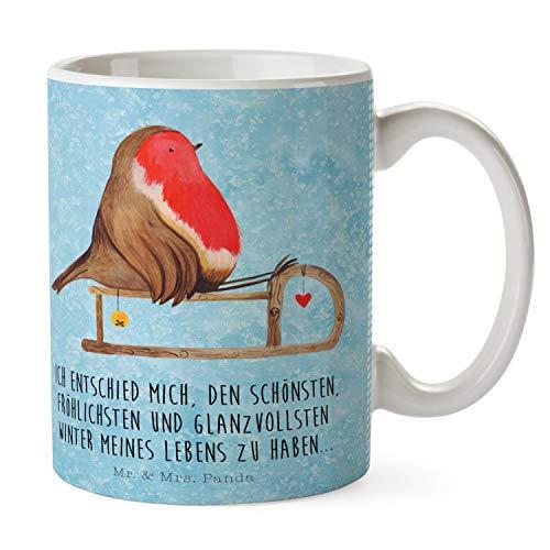 Mr. & Mrs. Panda Büro, Kaffeebecher, Tasse Rotkehlchen Schlitten mit Spruch - Farbe Eisblau