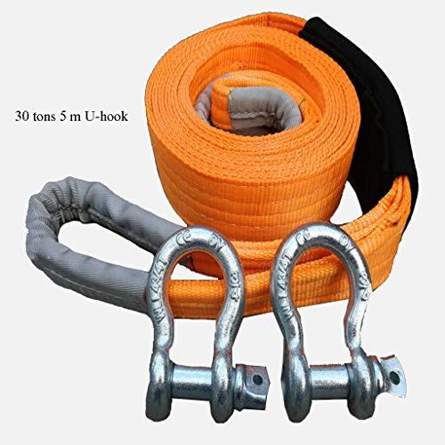 5 Meter Abschleppseil mit 2 Haken - 30 Tonnen Abschleppvermögen - ideal zum Ziehen von LKWs oder SUV-Fahrzeugen