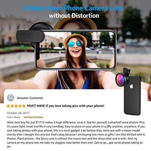 AMIR Phone Camera Lens, 0.45X Super Wide Angle Lens, 12.5X Macro Lens, Clip-On 2 in 1 Professional for iPhone Lens Kit for Tik Tok, Vlog, Yotube, Filming, Compatible with iPhone, Samsung, Google Pixel
