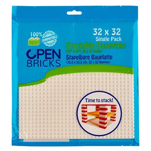 OPEN BRICKS Placa de construcción, 32 x 32 (25,5 x 25,5 cm), Color Blanco, 1 Pieza, Compatible con Todas Las Marcas líderes, montable por Ambos Lados.