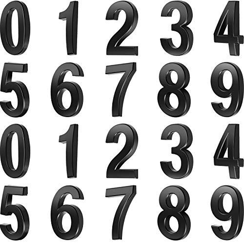 20 Stück 2 Zoll Mailbox Nummer 0-9 Adresse Nummern Selbstklebend Tür Nummer Reflektierend Mailbox Nummer für Haus Mailbox (Schwarz, 2 Zoll)