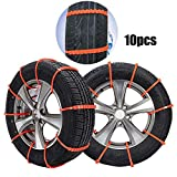 Carrfan 10pcs Car Anti-Skid Snow Tyre Tire Wheel Chain Beef Tendon Nylon Strap