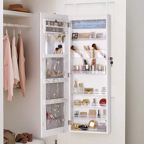 YOKUKINA LED Jewelry Cabinet Armoire Wall&Door Mounted - Full length Dressing Mirror w/ Large Storage Lockable Organizer
