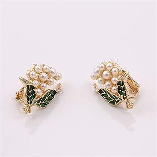 PYBHR XQ Fashion New Pearl Drop Glaze Green Brooch Set a Corsage Accessories (Metal Color : Ear Clip)