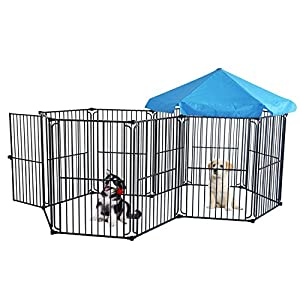 LEMKA Heavy Duty Dog Playpen Dog Kennel Pet Dog Exercise Playpen Foldable Dog Steel Crate Wire Metal Cage 10 Panels with Canopy – 48 inches