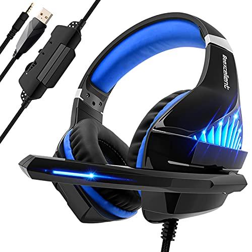 Cuffie Gaming per PS4, PS5, Xbox One, con LED, Cuffie da Gaming con microfono e Bass stereo, tasto Microfono Mute, Controllo del Volume, Cuffie da Gaming con 3.5mm Jack per Laptop/Tablet/PC/MAC
