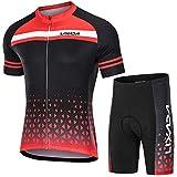 Lixada Maillot Ciclismo Hombre Transpirable Secado Rápido de Manga Corta y Pantalones Cortos Acolchados para MTB...