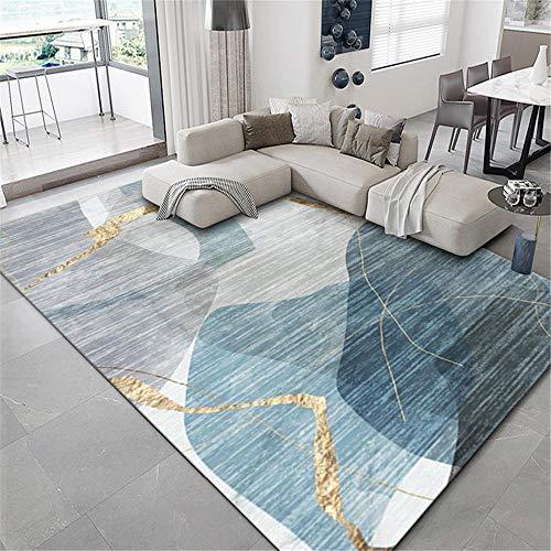 alfombras de Salon Modernas Alfombra Comedor Rectangular Gris Azul Suave y Resistente al Desgaste Moderno decoración habitación Bebe Alfombra Bebe 160X200CM 5ft 3' X6ft 6.7'
