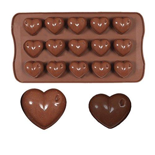 Moule en silicone chocolat forme cœur moule à glaçons forme moule en silicone pour 15 chocolats, Gelée, gâteaux et glaçons Marron