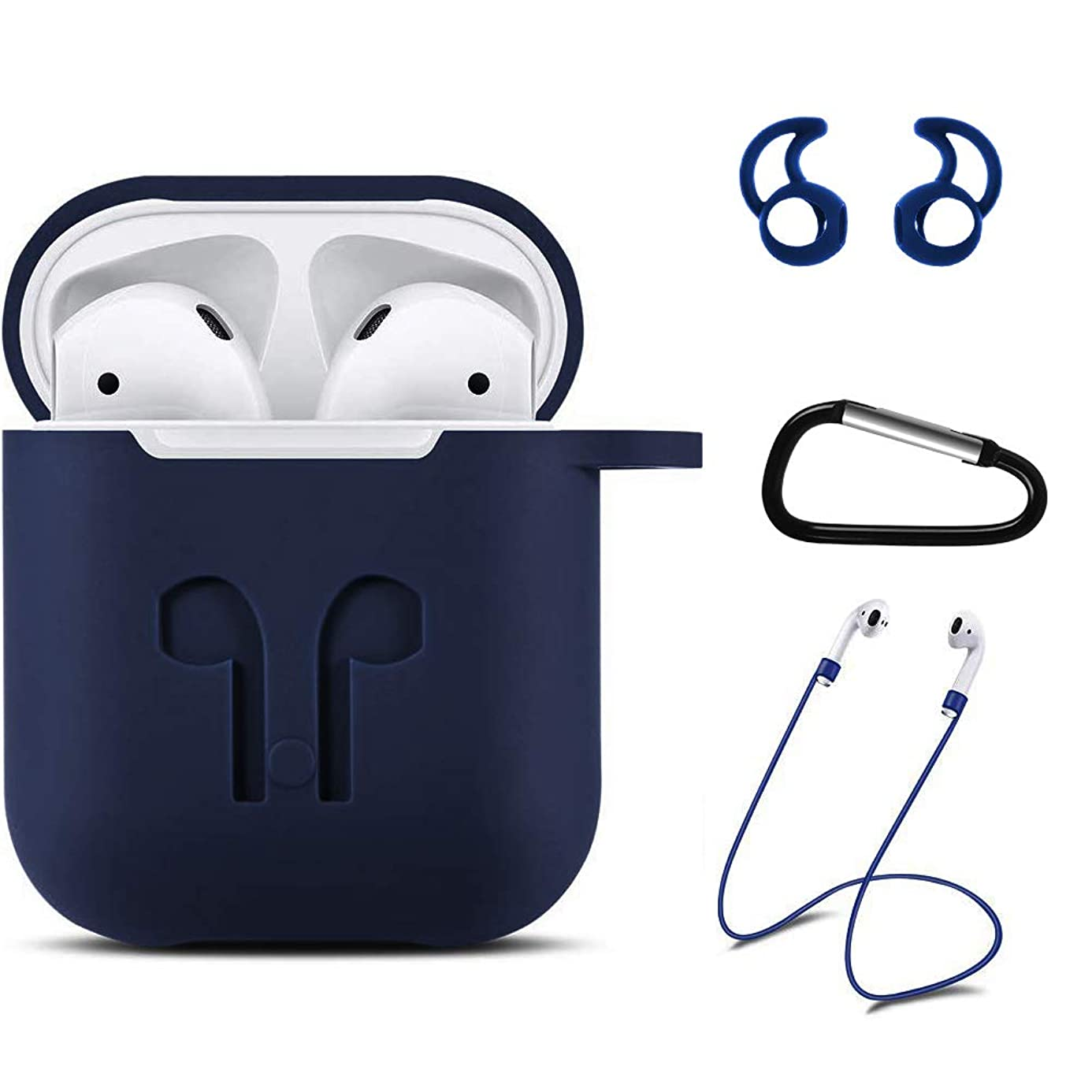 Xawy AirPods Case Airpods Accessories Kits Protective Silicone Cover and Skin Compatible with Airpods Charging Case (Blue)