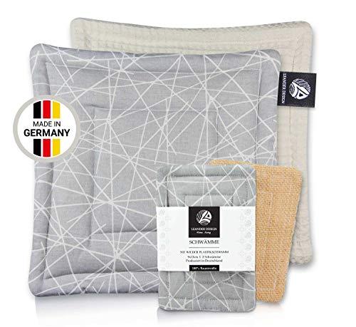Leander Design® Universallappen 20x20cm und Schwamm 9x13cm – Set aus Baumwolle in Premiumqualität – Handgearbeitet – umweltfreundliche Spültücher – waschbare Spülschwämme