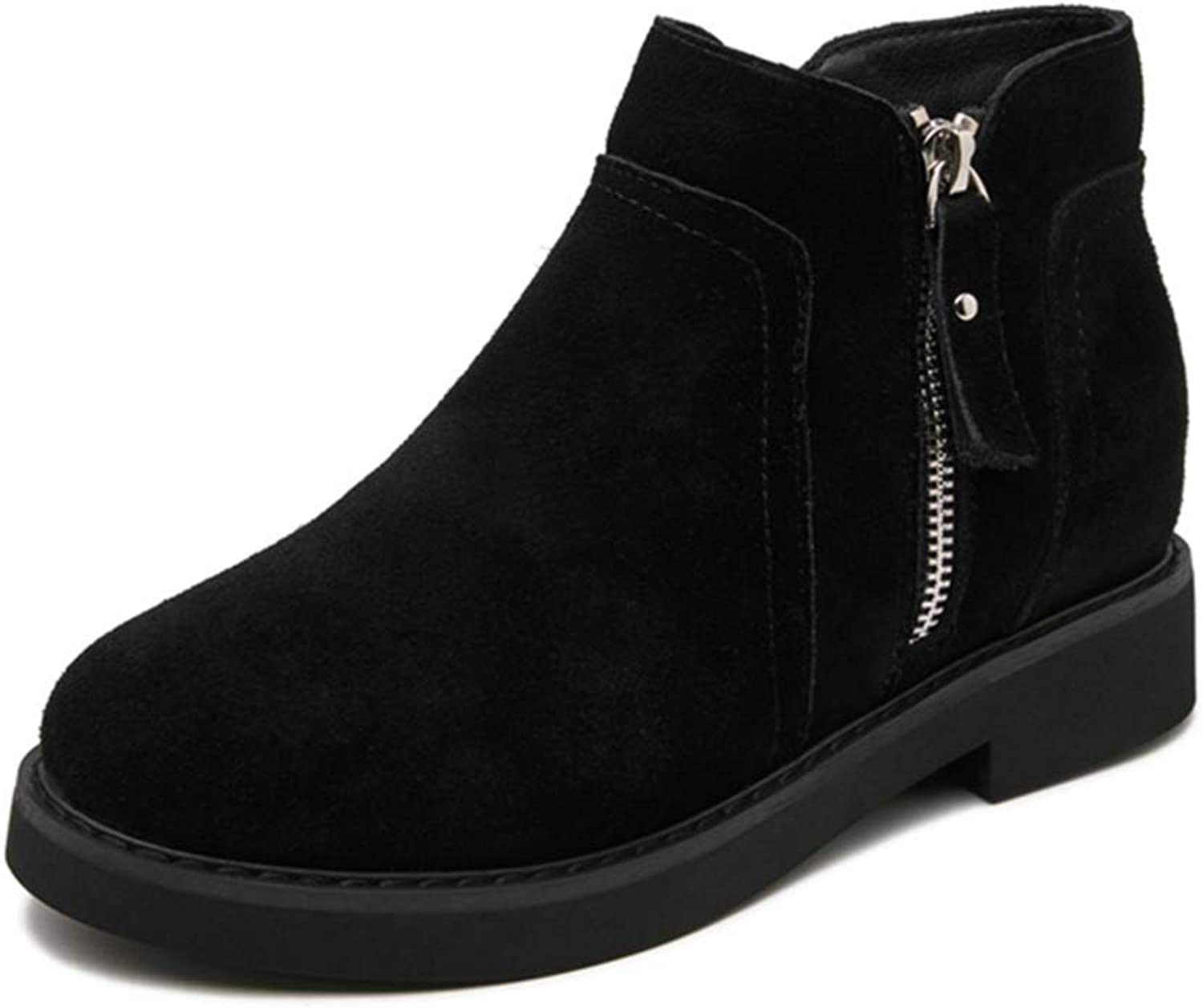 York Zhu Women Boots,Round Toe Side Zipper Suede Leather Internal Increase Ankle Boots