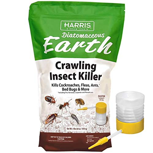 HARRIS Diatomaceous Earth Crawling Insect Killer, 4lb with Powder Duster Included Inside The Bag