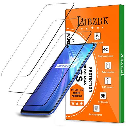 IMBZBK 【3 قطع】 متوافق مع Realme 6 خفف من الزجاج ، [لا فقاعات] [الحد الأقصى للتغطية] [الوضوح العالي] زجاج مقسى مضاد للخدش - شفاف