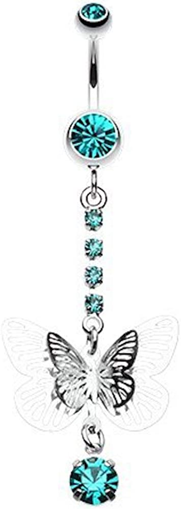 Covet Jewelry Sparkle Flutter Butterfly Belly Button Ring