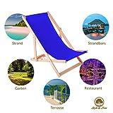 Amazinggirl Liegestuhl klappbar aus Holz Klappliegestuhl mit armlehne Strandstuhl Holzklappstuhl Garten - 2