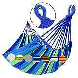 GOCAN Hamaca Doble brasileña 2 Personas Hamaca Extra Grande de Lona de algodón para Patio Porche Jardín Patio Área de Estar Exterior e Interior (Azul)