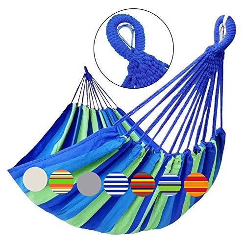 GOCAN Hamaca doble brasileña 2 personas Hamaca extra grande de lona de algodón 220x160 cm longitud total 330cm carga 300 kg para patio Porche Jardín Patio Área de estar exterior e interior(Azul verde)