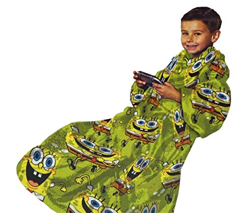 Northwest Company Youth Comfy Throw Blanket with Sleeves, SpongeBob 'Stretchy Bob' Design