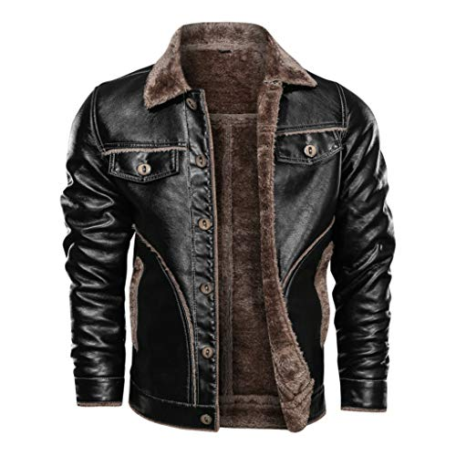 MmNote Men's Leather Jacket Vintage Stand Collar Motorcycle Biker Faux Leather Coat Black
