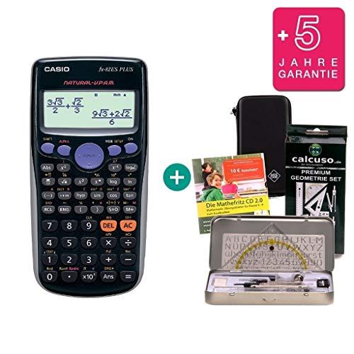 Casio Super Combo FX-82ES Plus + Funda Protectora SafeCase + CD de Aprendizaje CALCUSO (en alemán) + Kit de geometría + Garantía extendida 60 Meses