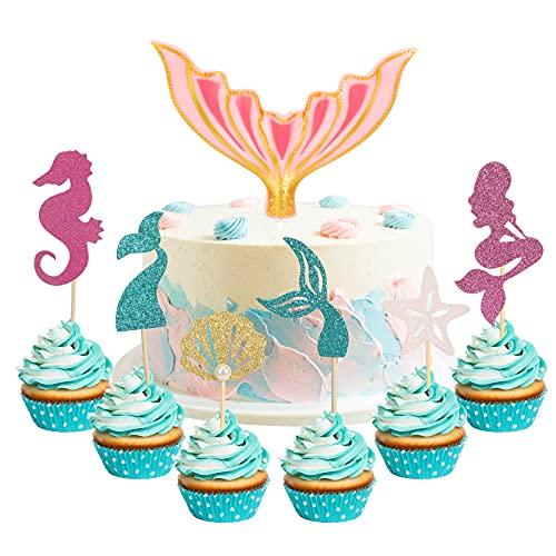 HIFOT Sirena Decoración para Tarta con purpurina, 24 piezas Cake Topper Mermaid fiesta de Decoración de Tartas para Baby Shower, fiesta de cumpleaños para Niña