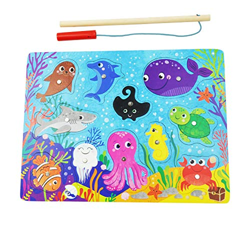 CuteyCo Magnetic Puzzle for Toddlers - Learn and Play Sea Animal Fishing Pole Puzzle