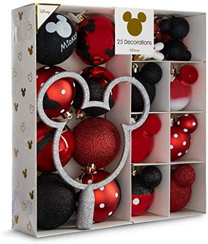 Licensed Disney Mickey Mouse Decoración Navidad Paquete de 25 Bolas Rojo/Multicolor Decoración para Colgar Primark - Rojo Paquete de 25, One Size