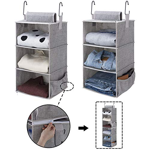 StorageWorks 2Pack 3Shelf Hanging Closet Organizers Collapsible Closet Hanging Shelves for Clothes and Shoes Canvas Gray 12quotx12quotx21quot