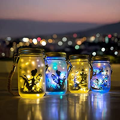 Solar Lanterns Outdoor, SPLAKS 2 Pack Solar Garden Lights, 40 LED IP44 Waterproof Fairy Lights Lantern for Garden Patio Yard Home Halloween Christmas