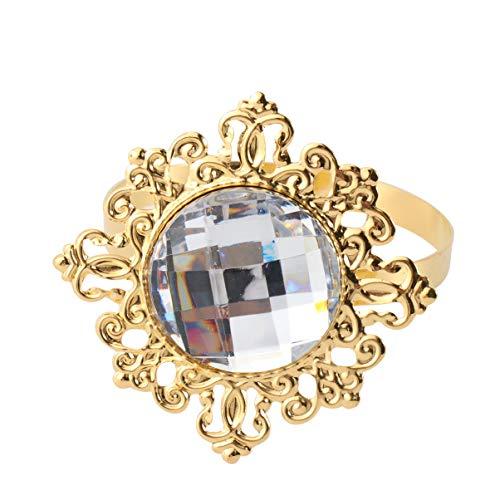 Pixnor Servilletero anillos de diamantes para banquetes matrimoniales, juego de 12 servilleteros.
