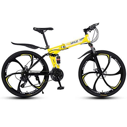 Mountain Bike Bicicletta Pieghevole Da 26 Pollici, Pieghevole Bici Pieghevole Bicicletta Mountain Bike Bike Unisex-adult 21-stage Shift Per Uomo, Ragazzo, Ragazza E Donna-giallo