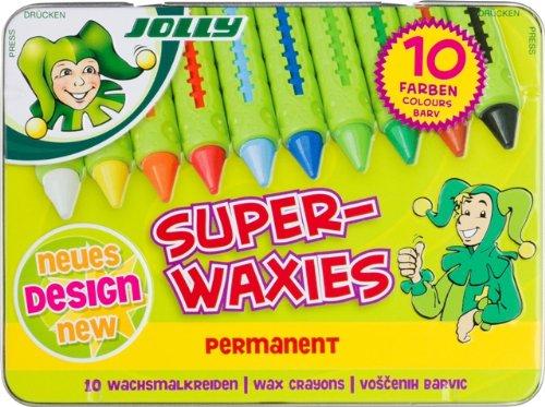 Jolly Superwaxies Wachsmalkreiden | Wasservermalbar | 10 Stück im Metalletui