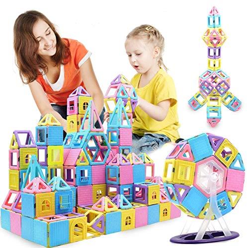 ACTRINIC 124 piezas de construcción magnéticas azulejos magnéticos, juguete de aprendizaje y desarrollo para niños y niñas de 3, 4, 5, 6, 7 años