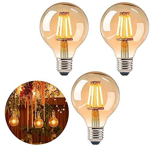 Bombilla vintage, iluminación de filamento antigua, bombilla de filamento antigua, bombilla LED de luz blanca cálida, bombilla vintage LED, lámpara retro [3 unidades]